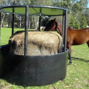 Hay Ring with Roof and Net for feeding horses safely